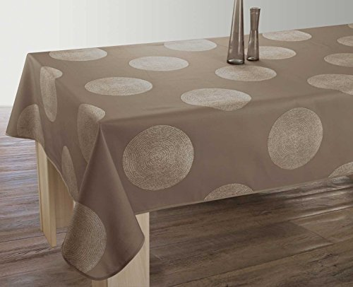 Nappe anti-taches Cercles taupe - taille : Rectangle 150x200 cm