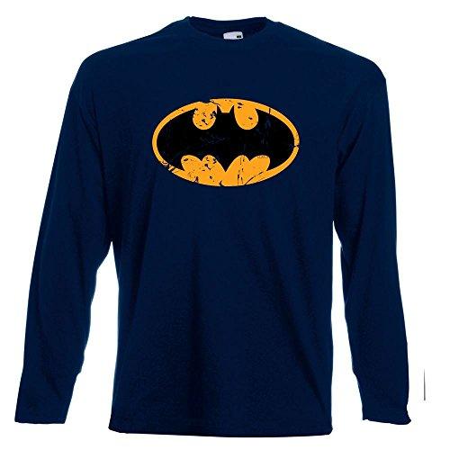 Herren Lustige SPR�Che Fun T Shirts-Batman Inspired Logo DC Comics Tshirt-Langarm Tshirt