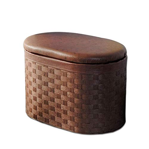 YXNN Oval Footstool Shoe Bench Startseite Multifunktions-Aufbewahrungsbox, Tragbarer Sofahocker, Handgewebter PU-Hocker (Size : Large) -