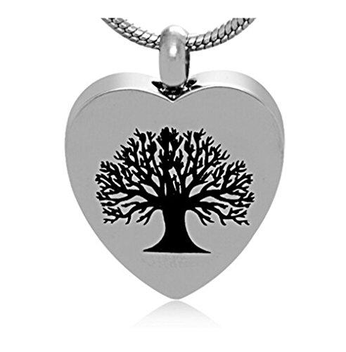 LiFashion LF Edelstahl personalisierte Namen Stammbaum des Lebens Feuerbestattung Urn Herz Asche Anhänger Halskette Familie Andenken Memorial für menschliche Haustiere,kostenlose Gravur (Andenken Jugendliche)