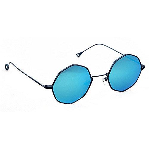 rame Polygon Metall Frauen Sonnenbrille UV-Schutz für den Fahr Urlaub Sommer Schutz für Rock Stars Sonnenbrille (Farbe : Blau) ()
