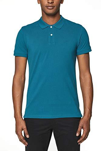 ESPRIT Herren 999EE2K803 Poloshirt, Blau (Petrol Blue 2 451), Large (Herstellergröße: L)