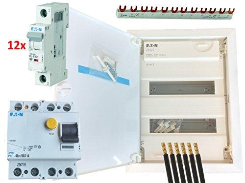 EATON Unterputz-Verteilungsset, 2-reihig, Kleinverteiler, FI-Schalter, 12 LS-Schalter B16A, Sammelschiene, 3 Brücken