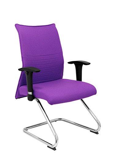 PIQUERAS Y CRESPO Modell Albacete confidente patín - Ergonomischer Sessel für Besucher mit Chromgestell - Sitz und Rücken Polster in Stoff BALI farbe flieder