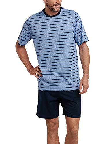Schiesser Herren Zweiteiliger Schlafanzug Anzug Kurz Blau 800, Medium (Herstellergröße: 050)