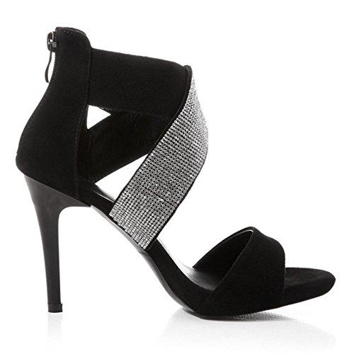 COOLCEPT Damen Mode Knochelriemchen Sandalen Open Toe Stiletto Schuhe Mit Zipper Schwarz