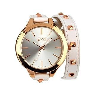 Eton señoras plata Dial & Slim Studded marfil largo Multi-wrap correa reloj 3167l
