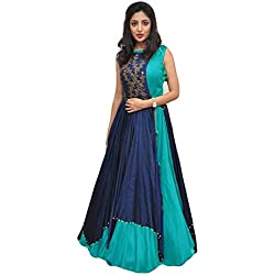 Dresses for women Western wear for party Designer Today offer buy in Low Price Sale Turquoise Color Banglori Silk Fabric Free Size Gown with jacket