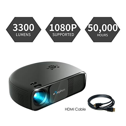 Beamer HD, ELEPHAS 1080P LCD Video Projektor mit 3300 Lumen, unterstützt HDMI USB VGA Laptop Smartphone, Ideal für Office Heimkino Entertainment Gaming Party