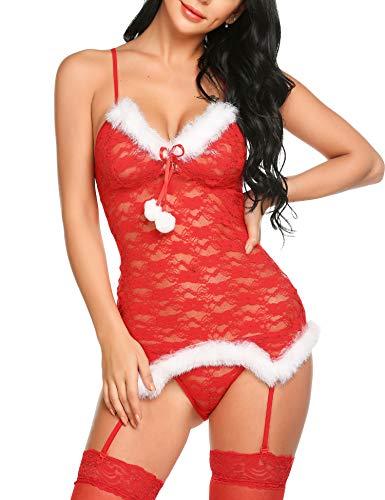 Lucyme Nachtwäsche Christmas Unterwäsche Damen Sexy Body Dessous Rückenfrei Spitze Bodysuit Negligee Reizwäsche Babydoll Lingerie Erotic