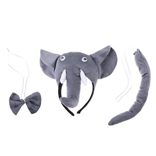 Homyl Elefant kostüm Set - Elefant Kopf Stirnband, Fliege, Schwanz - Tierkostüm für Kinder Mädchen Junge
