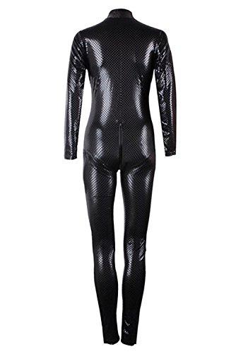 Mangotree Reizvolle Bodysuits Kostüm Catwoman Doppelt Reißverschluss Catsuit Dessous Schlange Haut Reißverschluss Crotch Overalls Clubwear Catlady Kostuem (EU36-38, (Korsett Bodysuit Kostüm)