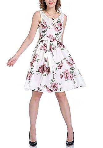 Chickwin Femmes Été Décontracté Impression blanche Mignon Robe O-Neck Robes courtes à manches courtes (EU 40-42)