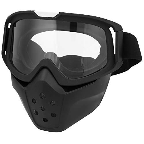 Motorradbrillen mit Abnehmbarer Maske, Fahrradbrille Outdoor-Sportarten Sicherheit Augenschutz Brille Motorrad Dirt Bike ATV Schutzbrille Maske Helm Sonnenbrille Einstellbare Skibrille(Transparent)