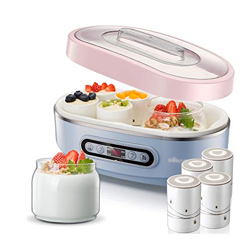 Joghurtbereiter,Joghurt-Maker,2 Liner + 8 Tassen, 4 Funktionen, Joghurt/Kimchi/Natto/Reiswein, Dreidimensionale Gärung Bei Konstanter Temperatur, Mikrocomputersteuerung