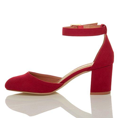 Femmes talon moyen sangle de cheville d'orsay soir professionnel escarpins chaussures sandales pointure Daim rouge