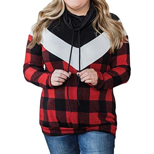 Malloom Damen Bluse Mode lässig Winter Lange Ärmel hochrollen V-Ausschnitt Knopf Plaid Gitter Hemd Drucken Bluse Tops Polluver Hoodie