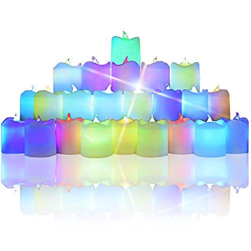 Cambio del color de la vela ligera del té LED, Dland colorido LED iluminado parpadeo Votiva Estilo sin llama velas humor luz para Navidad Día Paquete de 24