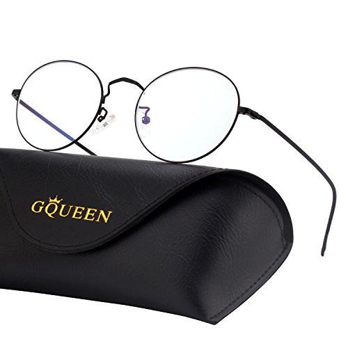 GQUEEN Runde Blaulichtblockierende Computer Brille Gaming Besser Schlafen Antiblend Augenerschöpfung mit Transparenten Gläsern GQ129