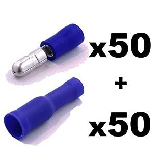 Shentian Kabelschuhe x 100 - Rundstecker Blau x50 / Rundsteckhülsen Blau x50 - Quetschverbinder, Isolierte - Für Kfz, Elektronik und Hobby