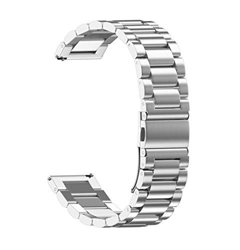 Dasongff Universal Loop Edelstahl Uhrenarmband Uhrenarmbänder mit Faltschließe Metall klassische Uhr Armband Zubehör 4 Federstege und Federstift (Silber-18mm)