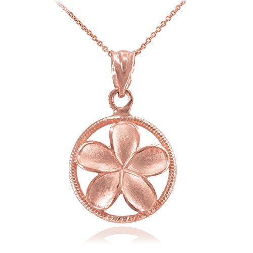 Donne Collana Pendente 14 Ct Rosa Oro Cordata Circolo Hawaiano Plumeria Fiore Fascino (Viene Fornito Con Una Catena Da 45cm)