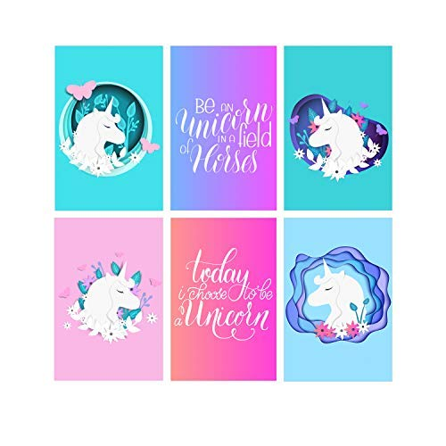 Juego de 6 pegatinas de unicornio para pared con diseño de unicornio de 11 x 17 pulgadas para niñas y adolescentes, para decoración de habitación de niña, decoración de pared de unicornio para niñas