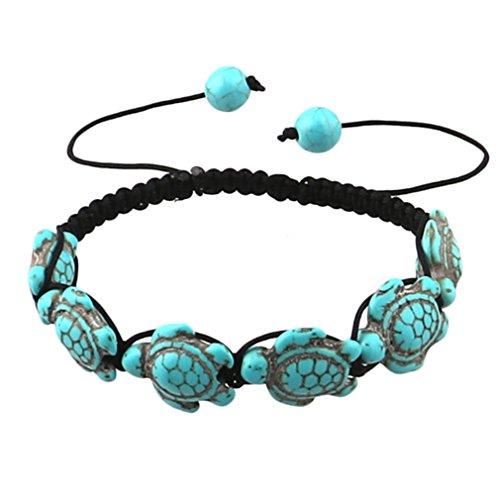 L_shop Bohemian Türkis Schildkröte Armband-Black Armband mit Schildkröte in Türkis Farbe-Hand stricken - Mit Türkis-perlen Armband