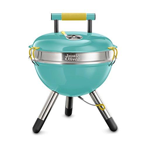 Jamie Oliver C2140V - BBQ Holzkohle Grill Park, tragbarer Edelstahl-Kugelgrill mit Griff - schwarz, 38x18x38cm turquoise