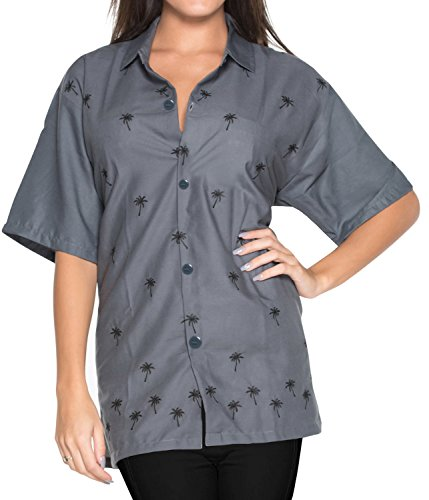 Hawaii-Hemd Blusen entspannt fit Frauen Knopf unten kurze Ärmel oben grau Grau