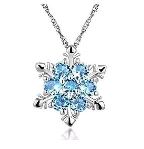 Preisvergleich Produktbild Lumanuby Damen Mode Schneeflocke Form Anhänger Blau Kristall Modeschmuck Geschenk Für Mutter Freundin Liebhaber, Keine Halskette Enthalten