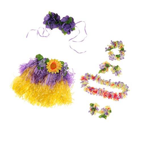 MagiDeal-Set8pcs-Falda-de-Danza-de-Hierba-Hula-Hawaiana-de-Nias-Pulsera-de-ManoDiadema-de-Pelo-para-Fiesta-de-Halloween-Disfraz-Prpura-Longitud-30