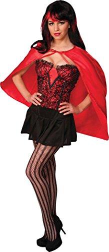 Damen Kostüm Rotkäppchen Märchen Supergirl Wonder Kurz Mini Fantasy Umhang - Rot, One size