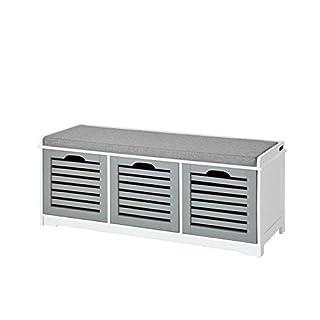 SoBuy FSR23-HG, Storage Bench 3 Drawers & Padded Seat Cushion, Hallway Bench Shoe Cabinet Shoe Bench