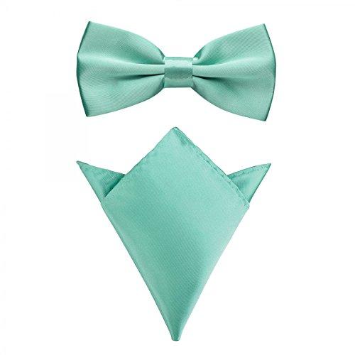 Rusty Bob - Fliege mit Einstecktuch in verschiedenen Farben (bis 48 cm Halsumfang) - zur Konfirmation, zum Anzug, zum Smoking - im 2er-Set - Mintgrün (Weste Hemd Krawatte)