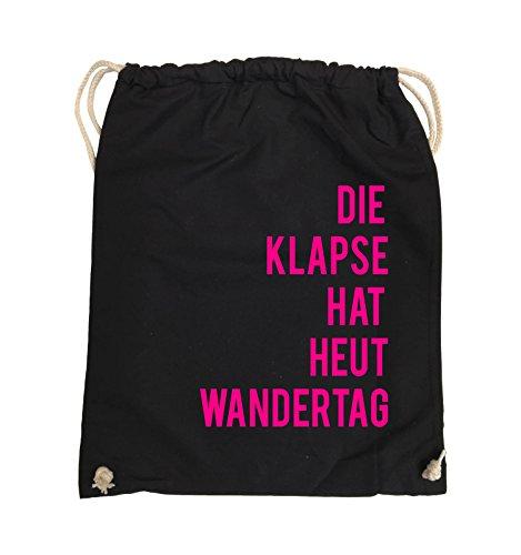 Comedy Bags - DIE Klapse HAT HEUT Wandertag - Turnbeutel - 37x46cm - Farbe: Schwarz/Pink