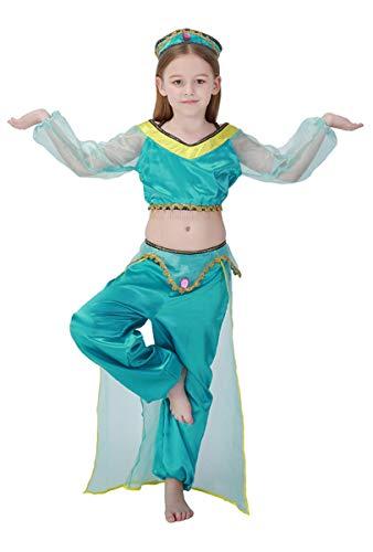 MOMBEBE COSLAND Mädchen Arabische Prinzessin Kostüm (Blau, L)