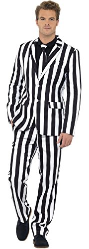 Mens Barcode Humbug Stand Out Suit Black White Striped Monochrome Stag Do Halloween Fancy Dress Costume Outfit M-XL (Medium)