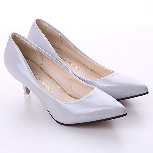 LnLyin Damen Hochezeit Schuhe Kitten Heel Schuhe Pointed Toe Slip Loafers Schule Frauen Mode Pumps Hochzeit Schuhe Arbeit Schuhe für Damen Mädchen Frauen Grau 38