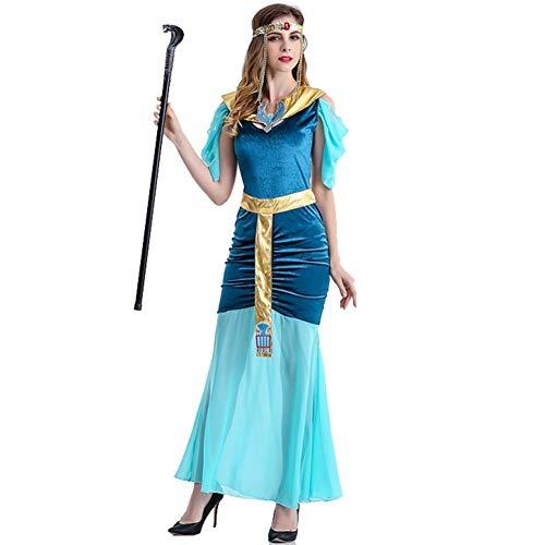 Griechische Muster Kostüm - LNC-QQNY Sexy Dessous Ägyptische Königin der Schönheit, figurbetontes Abendkleid, Halloween-Kostüm der griechischen Göttin (Color : Blue, Size : M)