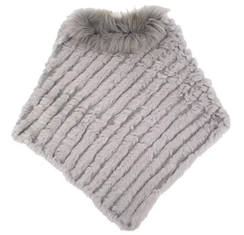 Ysting poncho elegante mantella casdo inverno a maglia in pelliccia vera di coniglio con colletto in pelliccia di procione - donna (c)