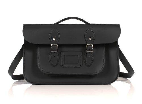 Oxbridge Satchel's 38,1cm schwarz Aktentasche Englisches Leder, Classic Retro Mode Laptop/Schule Tasche -