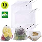Reusable Produce Bags, 15 Pcs Lightweight Washable See Through Mesh Shopping Merchandise Bags with Drawstring, Eco-Friendly Shopping Bags for Grocery, Fruits, Veggies, and Snack Bags