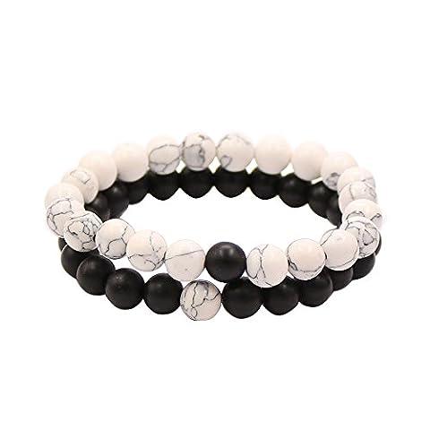 Bracelets de Distance Couple pour Amants-2pcs Agate Matte Noir & Perles Blanches Howlite 8mm Par UEUC (Agate Matte