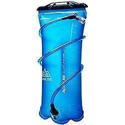DEKINMAX Poche à Eau Portable Sac à Dos d'hydratation pour Camping Randonnée Cyclisme Escalade Sport (Bleu, 3L)