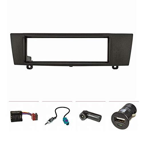 tomzz Audio 2404-036 Radioblende Set passend für BMW 1er E87 3er E90 Z4 E89 schwarz mit Quadlockadapter ISO, Fakra Antennenadapter DIN ISO, USB-Lader -