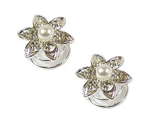 2 argent Perle Strass Cristal Fleur SE Motif tourbillon spirales à cheveux mariage - 1,7 cm de diamètre