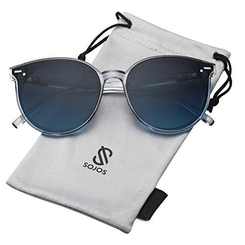SOJOS Klassisch Retro Runde Sonnenbrille Damen Herren SJ2067 mit Klar Grau Rahmen/Grau Linse