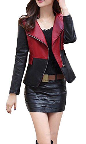 La vogue Damen Kreativ Spleiß Lederjacke Ledermantel Rot M Brust86cm