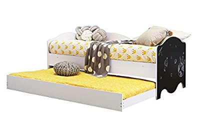 Sleep Design Teddy White Wooden Kids Bed Cabin Style Bed with Guest Bed Trundle & Chalkboard End